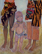 Bracelets Painting Framed Prints - Afrik Boy Framed Print by Brenda Dulan Moore
