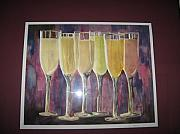 Champagne Painting Originals - After Five by Sheryl  Sutherland