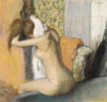 Female Metal Prints - After the Bath Metal Print by Edgar Degas