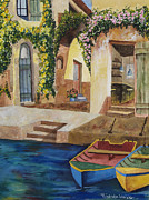 Authentic Inspiration Painting Posters - Afternoon at the Piazzo Poster by Kimberlee Weisker