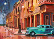 Classic Car Paintings - Al Caer la Noche by Maria Arango