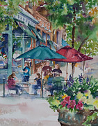 Store Fronts Painting Metal Prints - Al Fresco Metal Print by Amy Caltry