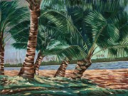 Coconut Trees Paintings - Ala Moana Beach by Larry Geyrozaga