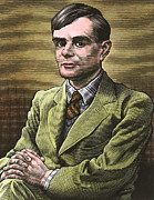 British Portraits Prints - Alan Turing, British Mathematician Print by Bill Sanderson
