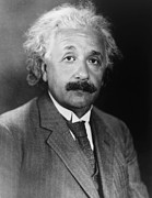 Albert Einstein Framed Prints - Albert Einstein 1879-1955 Framed Print by Everett