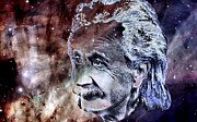 Outer Space Painting Framed Prints - Albert Einstein Framed Print by Elinor Mavor