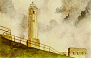 Lighthouse Art Paintings - Alcatraz Island Lighthouse by Michael Vigliotti
