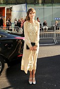 Beige Dress Framed Prints - Alexa Chung Wearing A Marc Jacobs Dress Framed Print by Everett