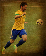 Lionel Messi Kicking Prints - Alexandre Pato II Print by Lee Dos Santos