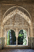 Old Framed Prints - Alhambra windows Framed Print by Jane Rix