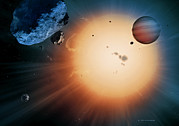 Planetary System Photos - Alien Planet And Asteroid, Artwork by Detlev Van Ravenswaay