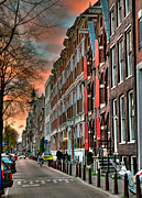 Townhouses Framed Prints - Alineado. Amsterdam Framed Print by Juan Carlos Ferro Duque