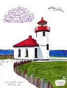 Famous Buildings Drawings Drawings - Alki Point Light by Frederic Kohli