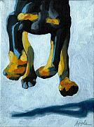 Doberman Art Posters - All Fours Poster by Linda Apple