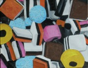 Licorice Painting Prints - All Sorts Print by Betty-Anne McDonald