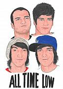 Alternative Rock Group Drawings - All Time Low  by Michael Dijamco