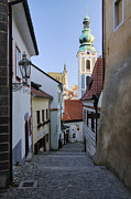 Cesky Krumlov Framed Prints - Alleyway through an Old City Framed Print by Jeremy Woodhouse