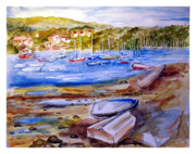 Harbor Drawings Originals - Along West Shore Road by Siona Koubek