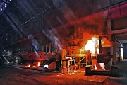 Molten Metal Framed Prints - Aluminium Production Framed Print by Ria Novosti