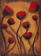 Roses Poppies Paintings - Amapolas by  Abril Andrade Griffith