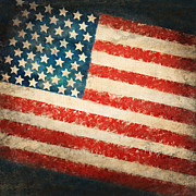 Drawing Pastels Metal Prints - America flag Metal Print by Setsiri Silapasuwanchai