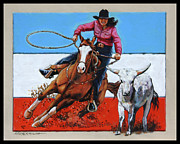 Barrel Painting Originals - American Cowgirl by John Lautermilch