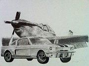 Race Drawings Originals - American Mustangs by Aaron Mayfield