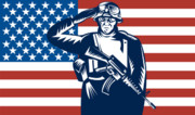 Weapon Posters - American soldier saluting flag Poster by Aloysius Patrimonio
