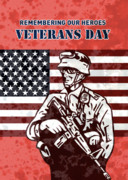 Stars And Stripes Digital Art Framed Prints - American solider serviceman with flag  Framed Print by Aloysius Patrimonio