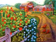 Morning Glories Paintings - Americana by Carol Allen Anfinsen