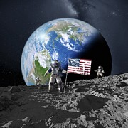 Manned Space Flight Art - Americans On The Moon, Artwork by Detlev Van Ravenswaay