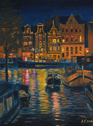Netherlands Paintings - Amsterdam at Night by Alex Vishnevsky