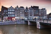 Old Houses Acrylic Prints - Amsterdam at Sunset Acrylic Print by Andre Goncalves