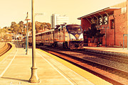 Old Postcards Prints - Amtrak Train At The Martinez California Train Station . 7D10495 Print by Wingsdomain Art and Photography