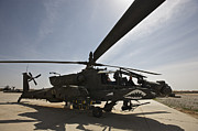 Rotor Blades Art - An Ah-64d Apache Helicopter Parked by Terry Moore