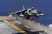 An Av-8b Harrier Jet Lands Print by Stocktrek Images