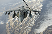 Drogue Framed Prints - An Av-8b Harrier Receives Fuel Framed Print by Stocktrek Images