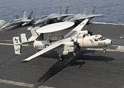 Flight Deck Posters - An E-2c Hawkeye Lands On The Flight Poster by Stocktrek Images