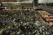 Crowds Photos - An Elevated View Of Traders by Michael S. Lewis