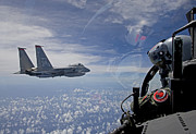 Helmet Posters - An F-15 Eagle Pilot Flies In Formation Poster by HIGH-G Productions