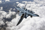 Camouflage Prints - An F-15c Aggressor Flies Print by Stocktrek Images