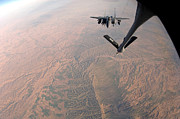 Mechanism Photo Prints - An F-15e Strike Eagle Is Refueled Print by Stocktrek Images