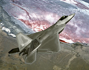 Stealth Prints - An Fa-22 Raptor Flies A Training Print by Stocktrek Images