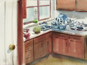 Kitchen Watercolor Paintings - And This Is The Kitchen by Donald Maier