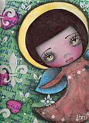 Big Eyed Art Framed Prints - Angel Girl Framed Print by  Abril Andrade Griffith
