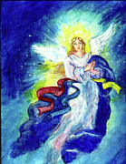 Angel Blues  Painting Framed Prints - Angel of Joy Framed Print by Doris Blessington