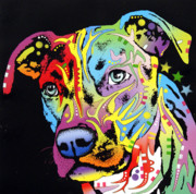 Coloful Mixed Media Metal Prints - Angel Pit Bull Metal Print by Dean Russo