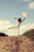 White Dress Prints - Angel With Parasol Print by Joana Kruse