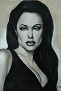 Black And White Pastels Posters - Angelina Jolie Poster by Anastasis  Anastasi