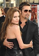 Arm Around Shoulder Posters - Angelina Jolie, Brad Pitt At Arrivals Poster by Everett